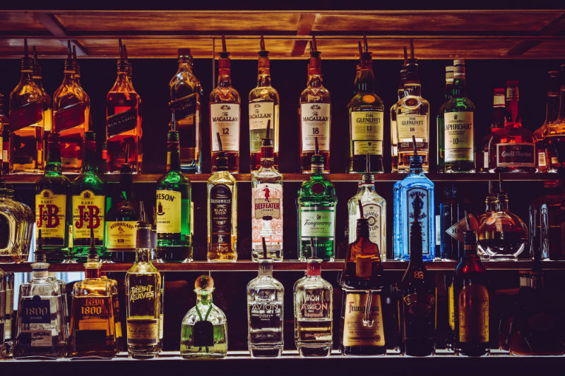 Alcohol Bottles in Bar